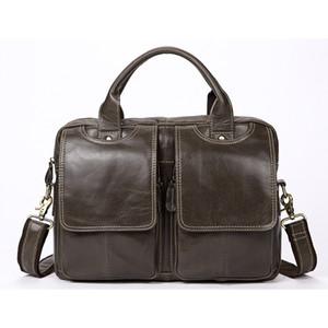 Genuine Leather Casual Mens Bags Tote Crossbody Bags Men's Briefcase Laptop 14'' Messenger Bag Men's shoulder bag