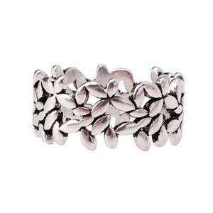 Anelli di foglie di colore dell'argento dell'annata della Boemia per le donne Regali delle ragazze dell'anello regolabile dei monili della dichiarazione di moda