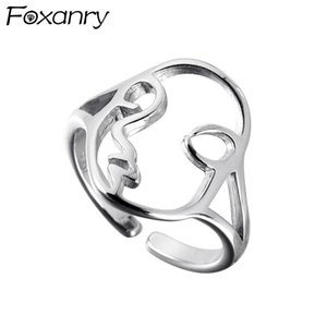 Cluster Rings Foxanry Minimalist 925 Sterling Silver Ring Hollow Face Asymmetric For Women Creative Jewelry Personality Party Gift Adjustabe