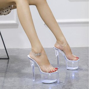 Neue super hohe Nachtclub High Heels Transparente Plattform Leuchtende Hausschuhe Frauen Schuhe LED Light Catwalk Pole Dance Sandalen