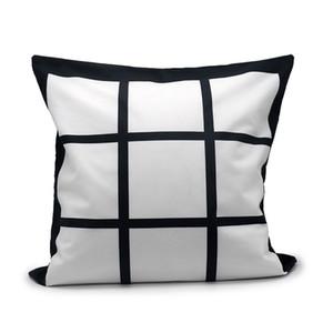 Sublimación Funda de almohada en blanco de sublimación Rejilla negra Poliéster de poliéster cubierta de almohada Transferencia de calor Cubierta de cojín Sofá Sofá SofáCases 40 * 40 cm 382 S2