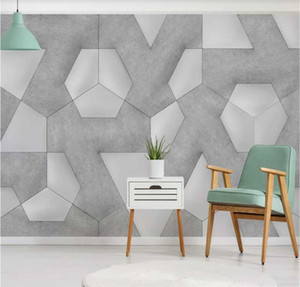 Custom wallpaper 3D photo three-dimensional fresh and simple geometric background wall painting wall covering 8d