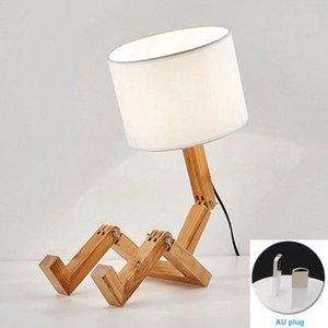 Pieghevole Lettura leggera Learning Living Room Lampada da tavolo Lampada da tavolo Lampada in legno Nordico Scrivania a forma di robot da lavoro moderno per camera da letto