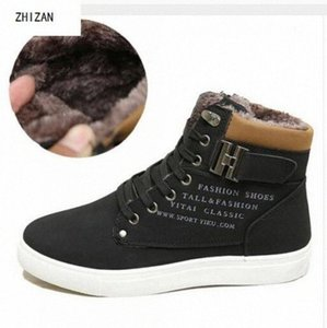 Zhizan New Men Shoes 패션 따뜻한 모피 겨울 남성 부츠가 가죽 신발 남자를위한 새로운 높은 탑 캔버스 캐주얼 신발 F3VQ #