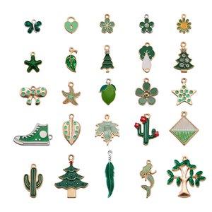 50pcs set Enamel Green Charms Mixed Fruit Animal Flowers Leaf Christmas Tree Alloy Pendants Earrings Jewelry Making Accessories