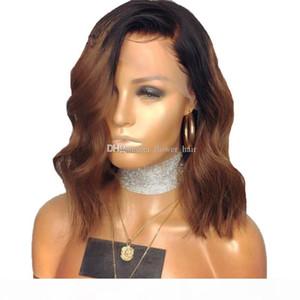 Bob corto Bob Wavy Virgin Virgin Full Lace Front Wig Parte media 16 pulgada 1b # 30 # Ombre Rubio Brasileño Peluca de cabello humano con pelo de bebé