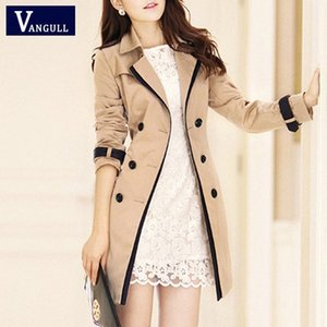 Vangull Fashion Women Thin Trench Coat Turn-down Collar Double Breasted Patchwork spell color Trench Slim Plus Size Wind coat j0OG#