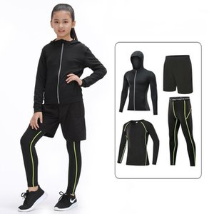 Kids Sports Running Set Girl Sport Suit Jogging Basketball Underwear Sportswear Gym Tights Girls Yoga Tracksuit Training Hooded1