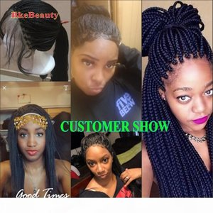 Long natural black braided box braids synthetic lace front wigs with baby hair glueless braiding heat resistant fiber hair
