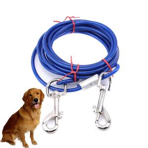 Cabo de trela de corda de reboque de fio de aço 3m com cabeças duplas ganchos de metal chumbo cinta para pequeno cão de gato de estimação grande