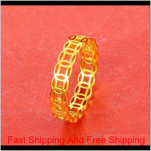 Mgfam (253R) China Ancient Coin Style Round Hollow Rings Jewelry For Women Classic 24K Pure Gold Plated Original Design 1Eblb Qu9Kl