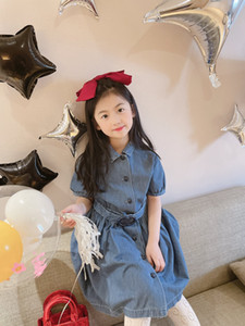 Fashion Girls Denim Dress 2021 Summer Kids Girls Dress Button Children party clothes
