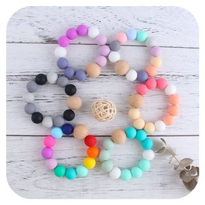 2021 New DIY baby Silicone teething beads Newborn Teething Ring Infant Wood Ring Teethers Baby Toy Colorful Silicon Beaded Soother M3329