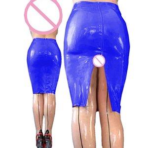 11 цветов мокрый внешний вид PVC карандаш длина колена раскол юбка дамы Bodycon MIDI юбка сексуальный пакет бедра задней части на молнии днища 210315