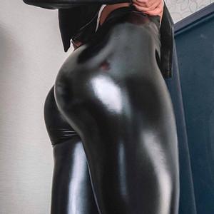 Normov Mulheres Leggings PU Calças De Couro Cintura Alta Cintura Skinny Push Up Leggings Sexy Elastic Calças Esticamento Plus Size Jeggings Girl