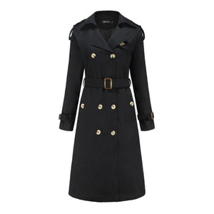 Autumn Women's Trench Coat Double Breasted Cotton Slim Classic Winter Long Trench Coat Women with Belt Windbreaker Outwea r