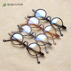 BONCAMOR Ordinary Male and Female Reading Glasses, Fashionable Hinge Design, Elegant Retro Style Round Plastic Spectacle Frame