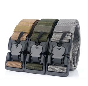 Elastic Men Belt Casual Canvas Belt Tactical Alloy Magnetic Buckle Male Strap Luxury Designer Belts For Jeans Pants New