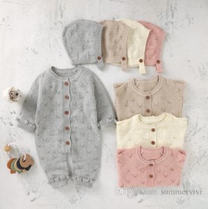 Baby kids hollow knitted rompers infant girls round collar single breasted long sleeve sweater jumpsuits newborn boys cotton climb clothing+hat 2pcs sets Q2086