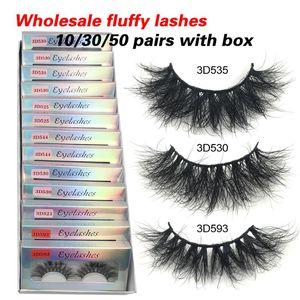 False Eyelashes RED SIREN10 30 50 Fluffy Mink Wholesale Lashes With Box Soft Volume Natural Eyelasehs Makeup 3d In Bulk