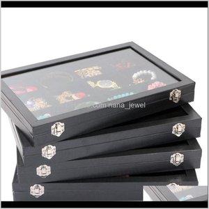 Large Top Grade Glass Lid Jewelry Box Necklaces Rings Earrings Bracelets Tray Storage Box Jewelry Holder 5Fsxu J3Tb7