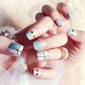 Цены на ногтей Цены 24шт. Метные фальшивые ногти с помощью клеевой решетчивой решетки дизайн акриловые искусственные ногтя полная крышка синие подсказки для ногтей