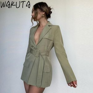 Wakuta Women Army Blazer vestido primavera otoño moda sexy elegante profundo v cuello alta cintura mini vestidos hembra con cinturón todo partido