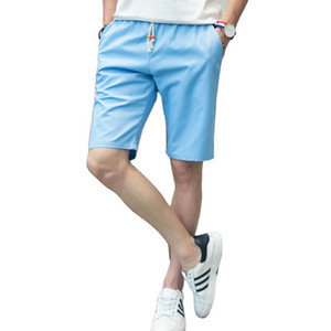 2020Newest Summer Hot Casual Shorts Men's Elastic band Lace up Solid color Fashion Style Man Beach Male Sportswear Fitness Pants