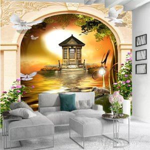 Custom 3d Landscape Wallpaper European-style Arch Beautiful Scenery Interior Home Decor Living Room Bedroom Painting Mural Wallpapers