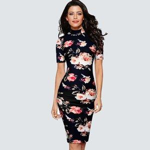 Women Casual Retro Floral Printed Slim Summer Elegant Party Charming Fashion Dress HB578