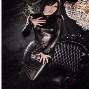 Sexy Turtleneck искусственное кожаное платье женские длинные рукава середины bodycon vestidos эротический фетиш стрейч латекс плотный ночной клуб костюм y200418