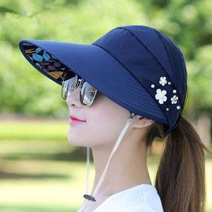 Sıcak Yaz Güneş Şapka Inci Ayarlanabilir Büyük Kafaları ile Geniş Dikilen Plaj Şapka UV Koruma Paketlenebilir Güneşlik Şapka Ile 1 adet Ltnshry