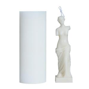 Sanat Vücut Mum Kalıp Kadın Mum Silikon Kalıp Koku İnsan Şekilli Tanrıça Mum Yapma Balmumu Alçı Kalıp El Yapımı