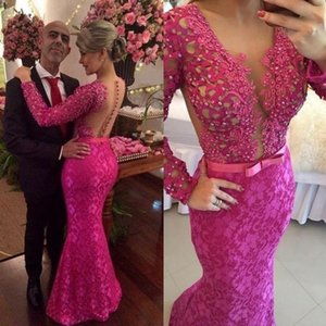 Fuchsia Lace Evening Dresses 2021 Long Sleeves Beaded Illusion Top Ribbon Bow Covered Buttons Back Floor Length Prom Party Gown vestido