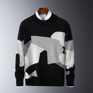 Seveyfan 2021 мужской повседневный свитер вязаный цвет блокировки мужской тонкий свитер хлопок с длинными рукавами круглые шеи теплый пуловер