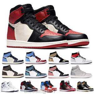 Top Calidad Bio Hack Dark Mocha Corbata Tie Dye Jumpman 1 1S Mens Baloncesto Zapatos Obsidian UNC Travis Scotts Turbo Green Chicago Sport KK88