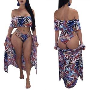 New summer Women Designers Bathing Suit printed suspender bra Cape triangle Bikini four piece swimsuit sexy milk silk Swimdress