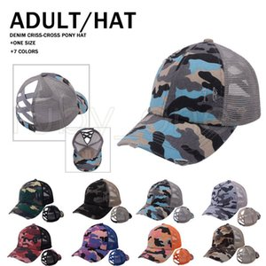 Camouflage Ponytail Baseball Caps Criss Cross Washed Ball Caps Fashion Camouflage High Messy Party Hats Supply 8styles RRA4160