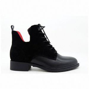 Moda Mujeres Negro Cuero Suede Rojo Forro Temperamento Cabeza Redonda Vendajes Botas Cilindro Botas cortas Gruesas Botas de tobillo de botines de, O0SM #