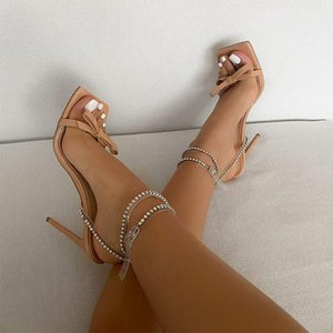 Women Sexy Sandals High Heels Ladies Square Toe Rhinestone Summer Shoes Party Wedding Buckle Strap Woman Pumps Bowknot