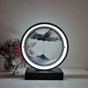 Creative Retro Hourglass table lamp Craft quicksand 3D Natural Landscape Flowing Sand Picture Moving Hourglass Night Lamp Home