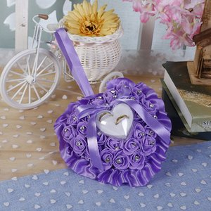 Favors Ring Pillow With Transprent Box Heart Design Rhinestone Decor Wedding Ring Cushion Decoration Proposal Marriage Supplies GWD5453