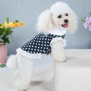 Cão bonito gato princesa vestidos de pelúcia bulldog schnauzzer animal de estimação cão vestido moda ponto impresso cão pequeno vestuário