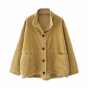 2021 New Autumn Cotton Corduroy Coat Short Jacket with Pocket Female High Quality Warm Outwear Women Parkas Gl20647-c1124 GPC1