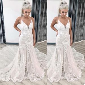 Lace Mermaid Wedding Dresses 2021 New Designer with Spaghetti Straps Applique Sweep Train Custom Made Sheer Garden Wedding Gown vestido