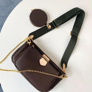 Original single genuine leather goods three in one messenger bag fashion dinner change purse cosmetic bag
