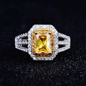Wedding Rings Trendy Delicate Silver Plated Zircon Engagement For Women Yellow CZ Stone Inlay Fashion Jewelry Party Gift