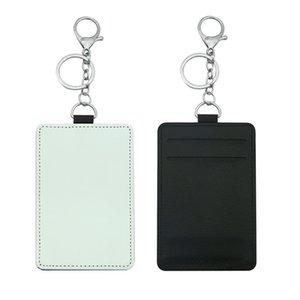 Suporte de cartão de sublimação PU couro em branco cartões de crédito saco caso transferência de calor Impressão DIY detentores com keychain yfa2973