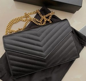 2021 Envelope Wallets Glossy Embossed Vernis Patent Shiny Leather Chain Bag Removable Card Holder Zipper Pockets 3 in One Multiple Pouch