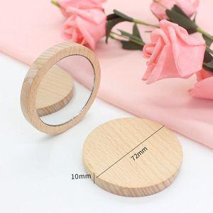 Madera Pequeño espejo redondo espejo portátil de bolsillo de madera Mini maquillaje de maquillaje Boda Favor de regalo Logotipo personalizado DHE5135